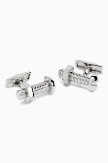 Silver Tone Nut And Bolt Cufflinks