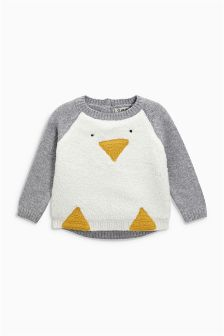 White Penguin Christmas Jumper (3mths-6yrs)