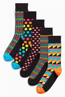 Rainbow Geo Socks Five Pack