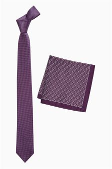 Purple Textured Tie And Pocket Square