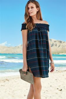 Navy Textured Stripe Off Shoulder Dress