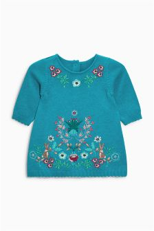 Teal Embroidered Knit Dress (0mths-2yrs)