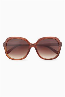 Brown Etched Arm Detail Sunglasses
