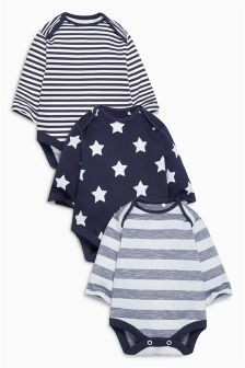 Navy Stars And Stripes Long Sleeve Bodysuits Three Pack (0mths-2yrs)