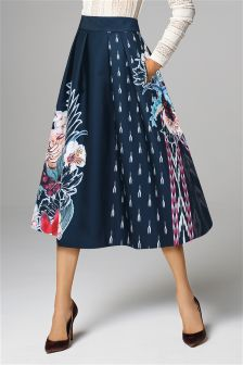 Navy Floral Full Skirt