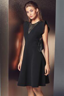 Black Frill Sleeve Dress