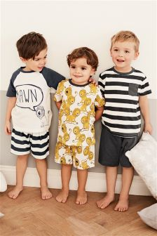 Multi Lion Short Pyjamas Three Pack (9mths-8yrs)