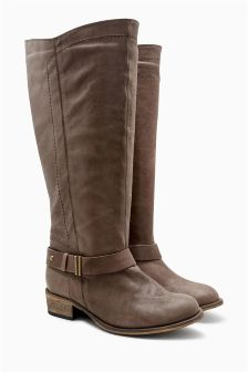 Chocolate Extra Wide Fit Casual Leather Strap Long Boots