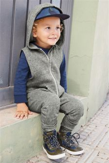 Grey Zip Hooded All-In-One (3mths-6yrs)