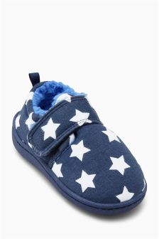 Navy Star Slippers (Younger Boys)