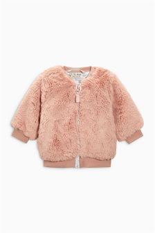 Pink Faux Fur Bomber Jacket (3mths-6yrs)
