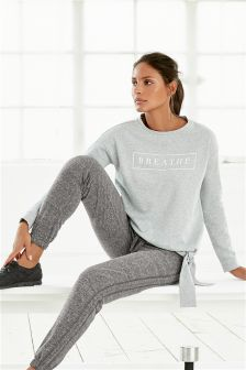 Grey Graphic Knot Sweat Top