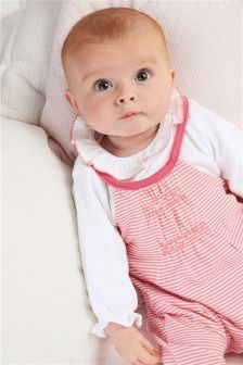 Pink Stripe Dungarees And Bodysuit Set (0mths-2yrs)