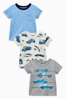 蓝色短袖汽车图案T恤三件装 (3个月-6岁)
