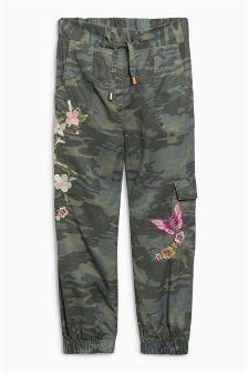 Khaki Camo Embroidered Utility Trousers (3-16yrs)