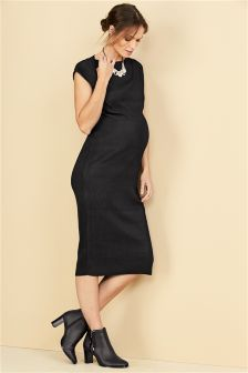 Black Maternity Bodycon Pleated Dress
