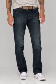Dark Wash Belted Jeans