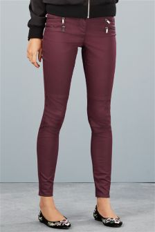 Four Zip Coated Skinny Trousers