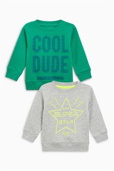 Green/Grey Superstar Cool Dude Crew Tops Two Pack (3mths-6yrs)