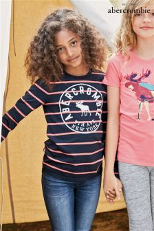 Abercrombie & Fitch Navy/Pink Stripe Long Sleeve T-Shirt
