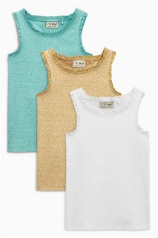 Teal/White/Ochre Vests Three Pack (3-16yrs)