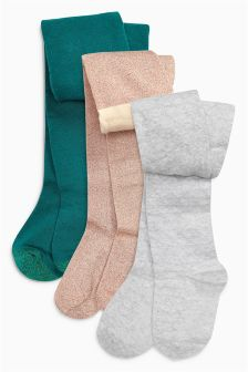 Green/Pink/Grey Textured Tights Three Pack (0mths-6yrs)