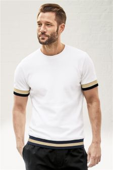 Ecru Hem Stripe T-Shirt