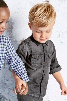 Grey Long Sleeve Denim Shirt (3mths-6yrs)