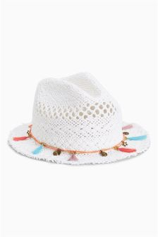 White Tassel Trilby (Older Girls)