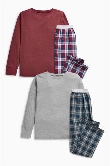 Plum Check Pyjamas Two Pack (3-16yrs)