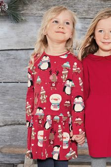 Red Christmas All-Over Print Tunic (3mths-6yrs)