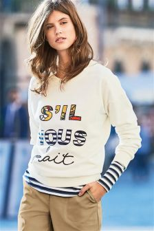 Ecru French Graphic Sweat Top