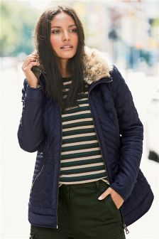 Navy Fitted Quilt Jacket