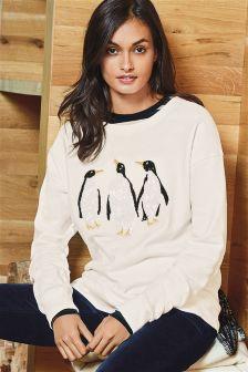 White Penguin Sequin Christmas Jumper
