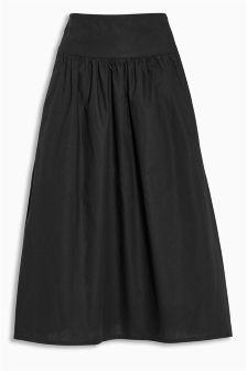 Black Cotton Poplin Skirt