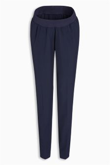 Navy Maternity Taper Trousers