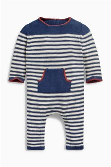 Navy Stripe Knitted Romper (0mths-2yrs)
