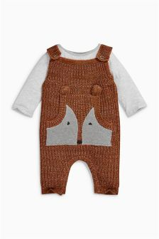 Ginger Fox Knitted Dungarees (0mths-2yrs)