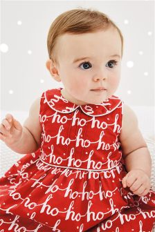 Red Ho Ho Ho Printed Prom Dress (0mths-2yrs)