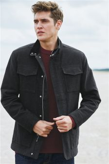 Charcoal Herringbone Moleskin Jacket