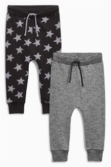 Charcoal Star Printed Joggers Two Pack (3mths-6yrs)