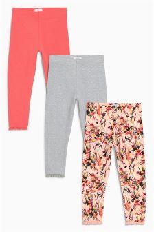 Pink/Grey Pretty Leggings Three Pack (3mths-6yrs)