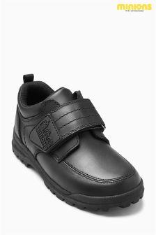 Black Minions Single Strap Shoes (Older Boys)