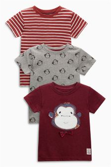 Rust Short Sleeve Appliqué Monkey T-Shirt Three Pack (3mths-6yrs)