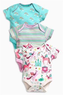 Multi Unicorn Short Sleeve Bodysuits Three Pack (0mths-2yrs)