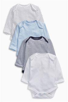 Blue Long Sleeve Bodysuits Four Pack (0mths-3yrs)