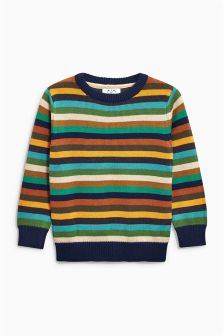 Multi Stripe Crew Neck Jumper (3mths-6yrs)