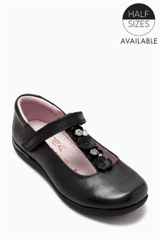 Black Flower T-Bar Shoes (Older Girls)