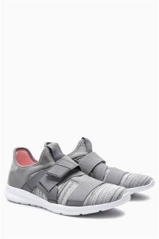 Grey Elastic Strap Trainers