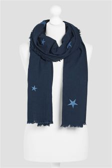 Navy Embroidered Star Scarf